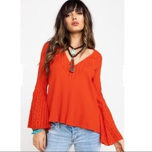 Free People Parisian Nights Top Boho Bell Sleeve